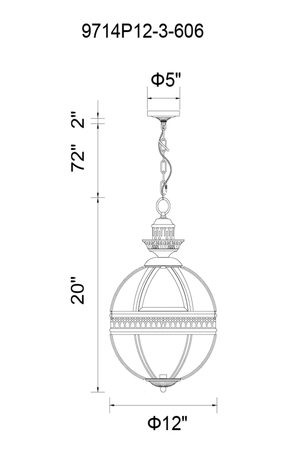 CWI Lighting Lune 3 Light Up Mini Pendant With Black Finish Model: 9714P12-3-101 Line Drawing