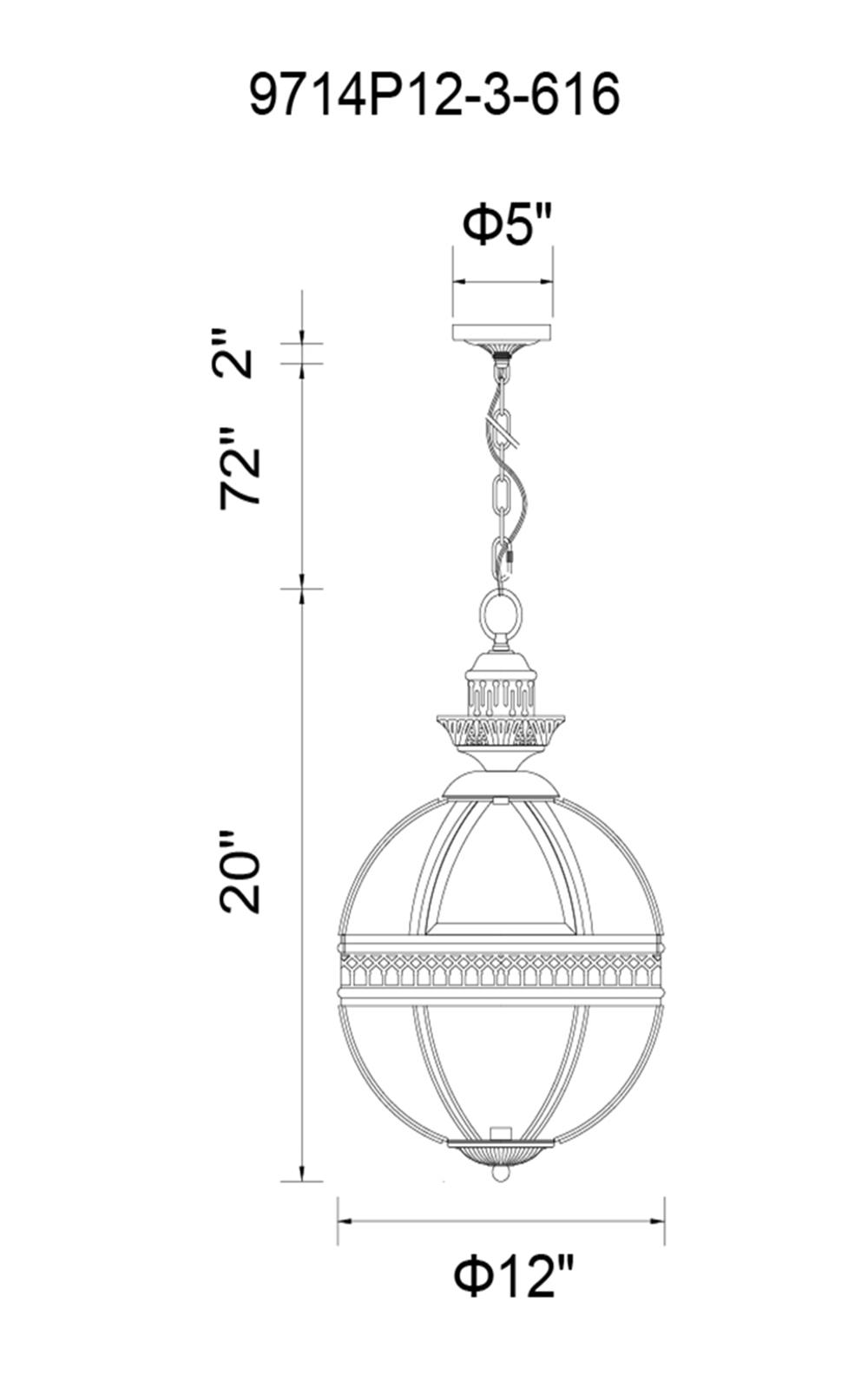CWI Lighting Lune 3 Light Up Mini Pendant With Bronze Finish Model: 9714P12-3-616 Line Drawing