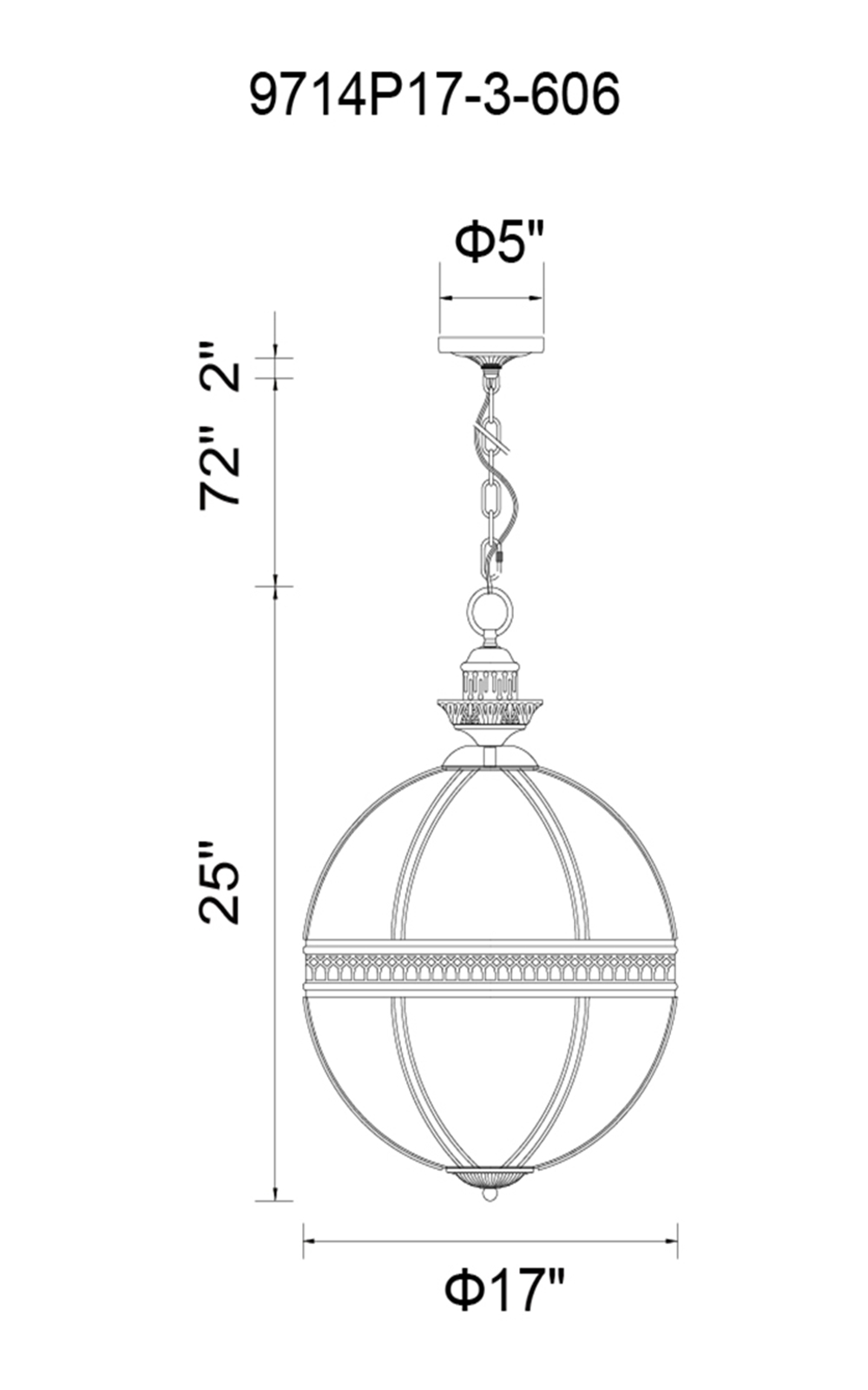 CWI Lighting Lune 3 Light Up Chandelier With Black Finish Model: 9714P17-3-101 Line Drawing
