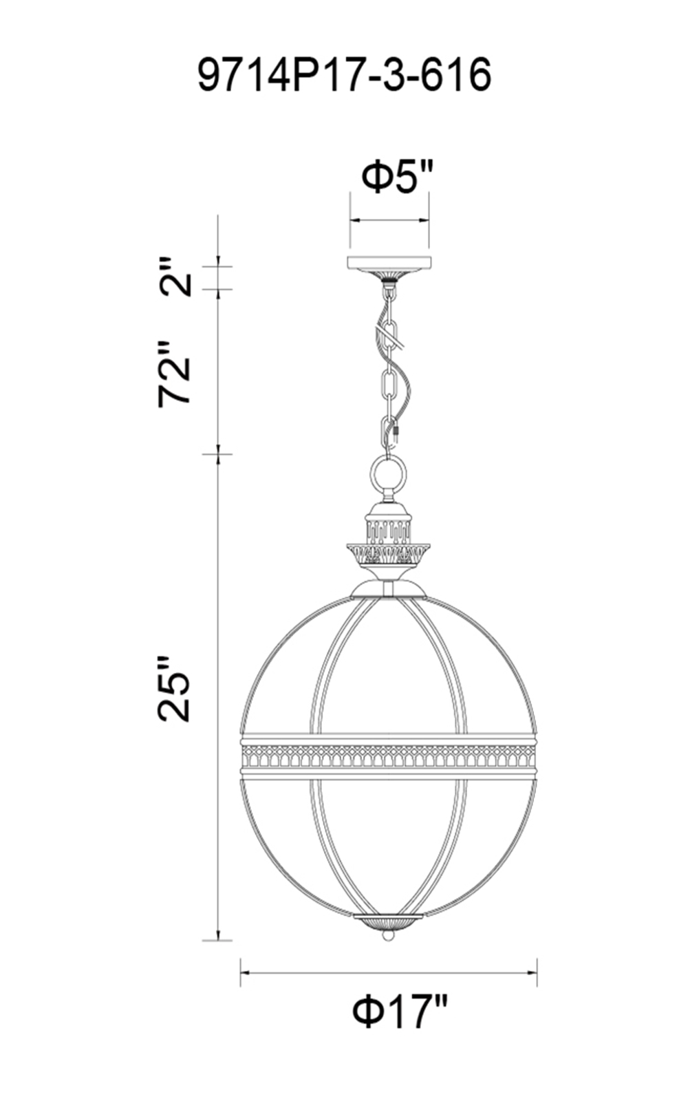 CWI Lighting Lune 3 Light Up Chandelier With Bronze Finish Model: 9714P17-3-616 Line Drawing