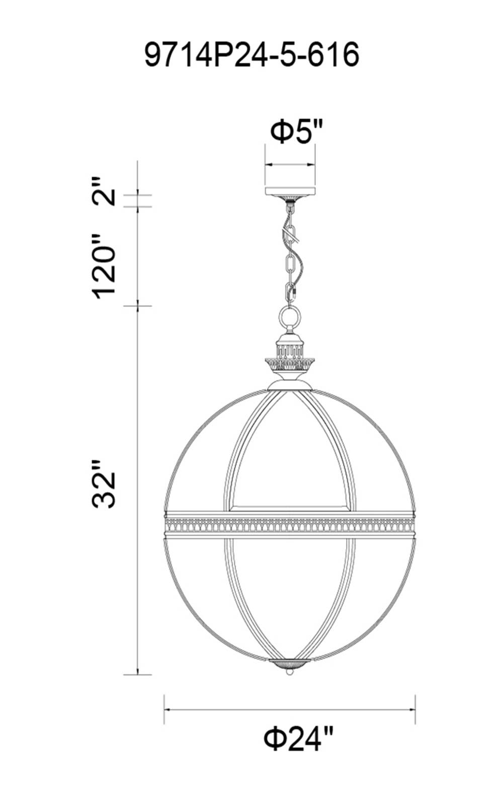 CWI Lighting Lune 5 Light Up Chandelier With Black Finish Model: 9714P24-5-101 Line Drawing