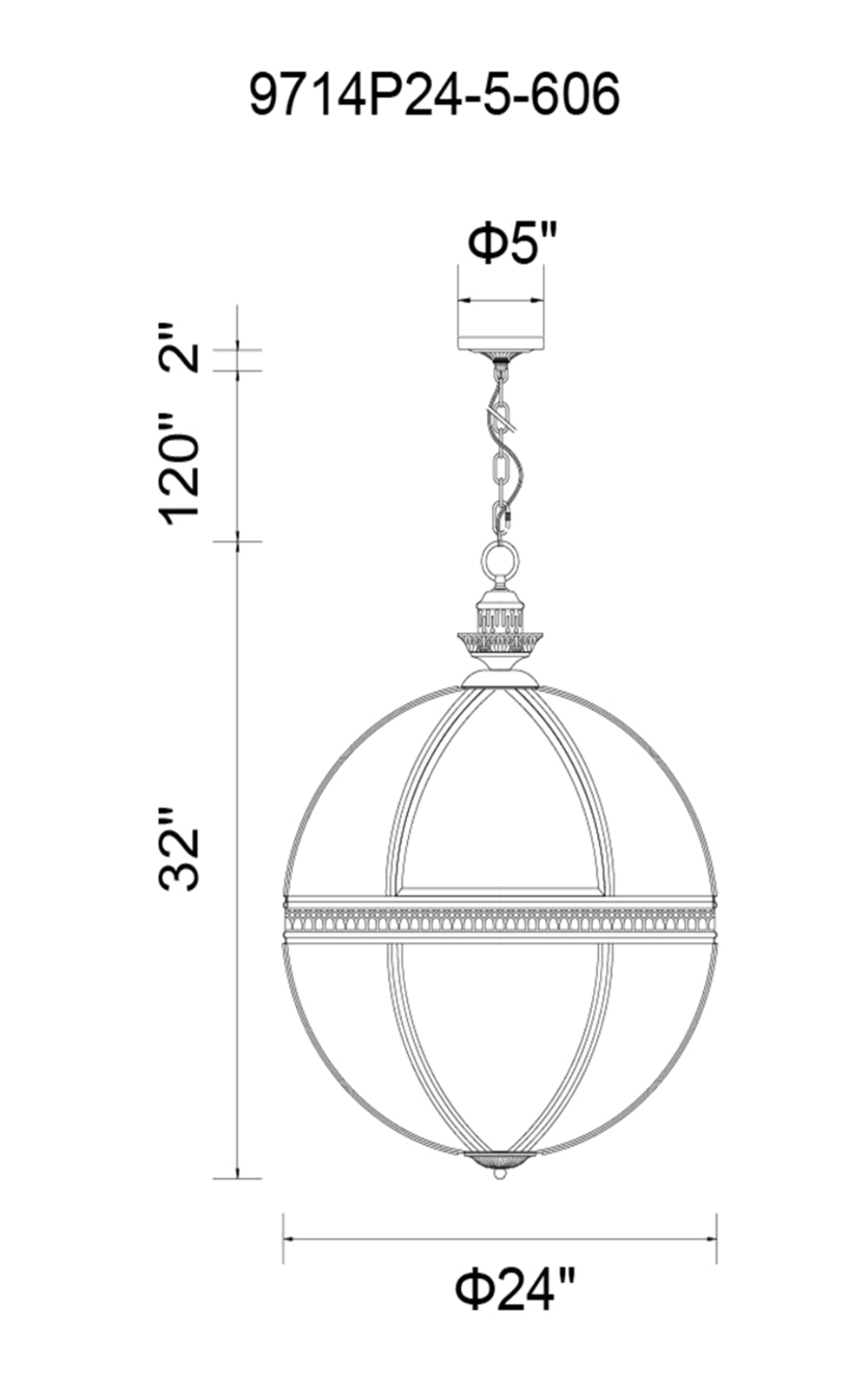 CWI Lighting Lune 5 Light Up Chandelier With Satin Nickel Model: 9714P24-5-606 Line Drawing