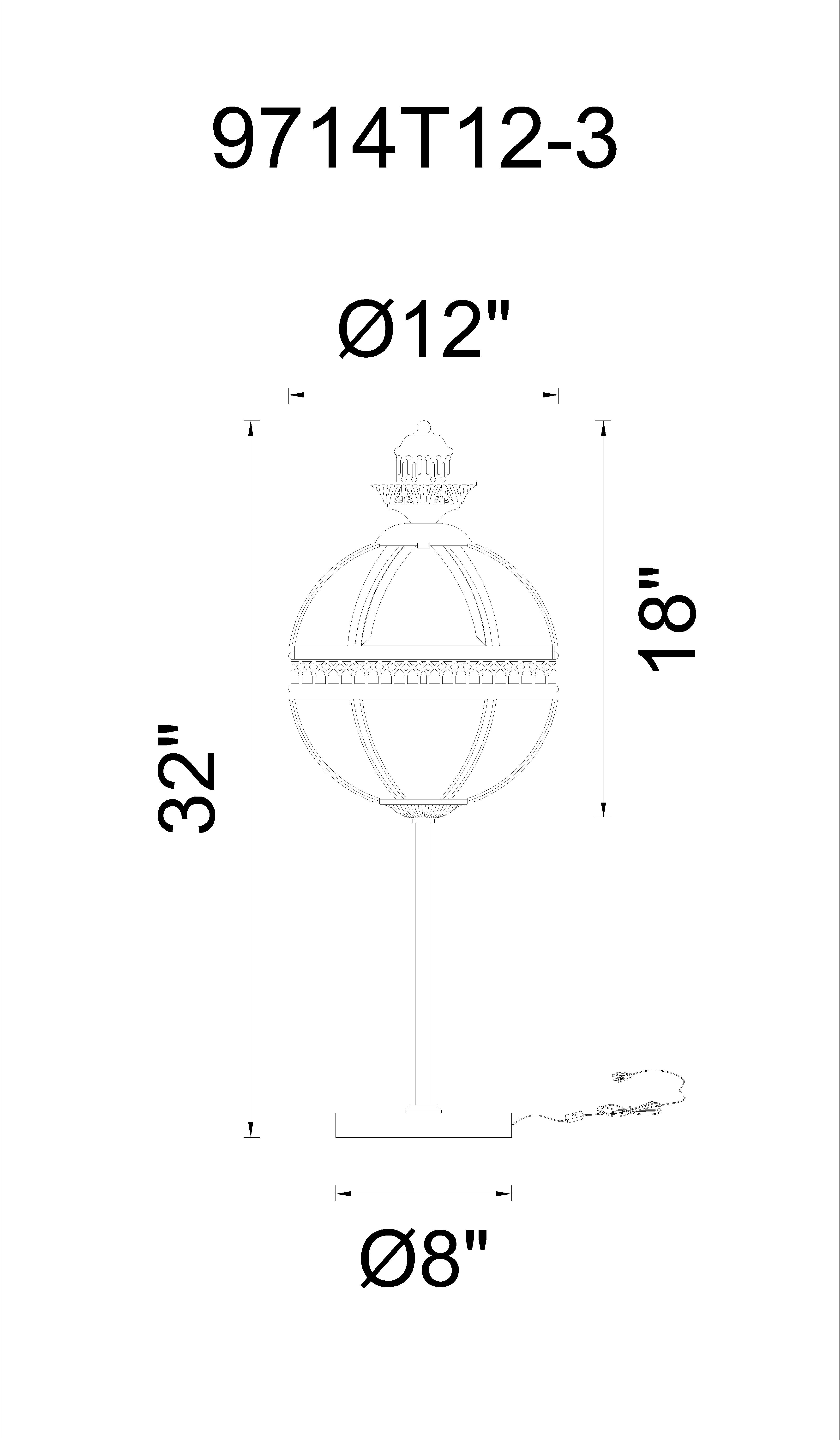 CWI Lighting Lune 3 Light Table Lamp With Black Finish Model: 9714T12-3-101 Line Drawing