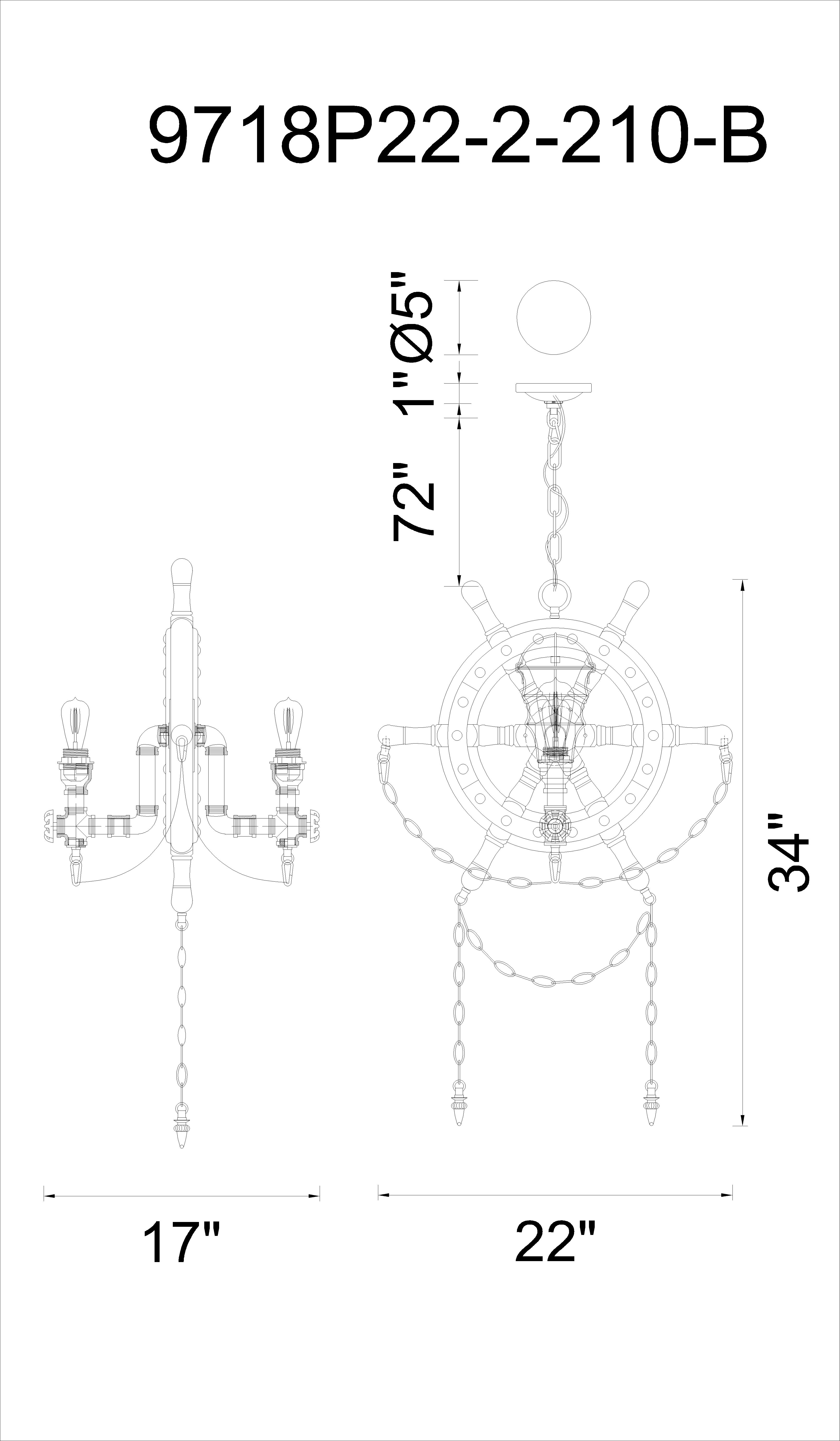 CWI Lighting Manor 2 Light Up Chandelier With Speckled Copper Model: 9718P22-2-210-B Line Drawing
