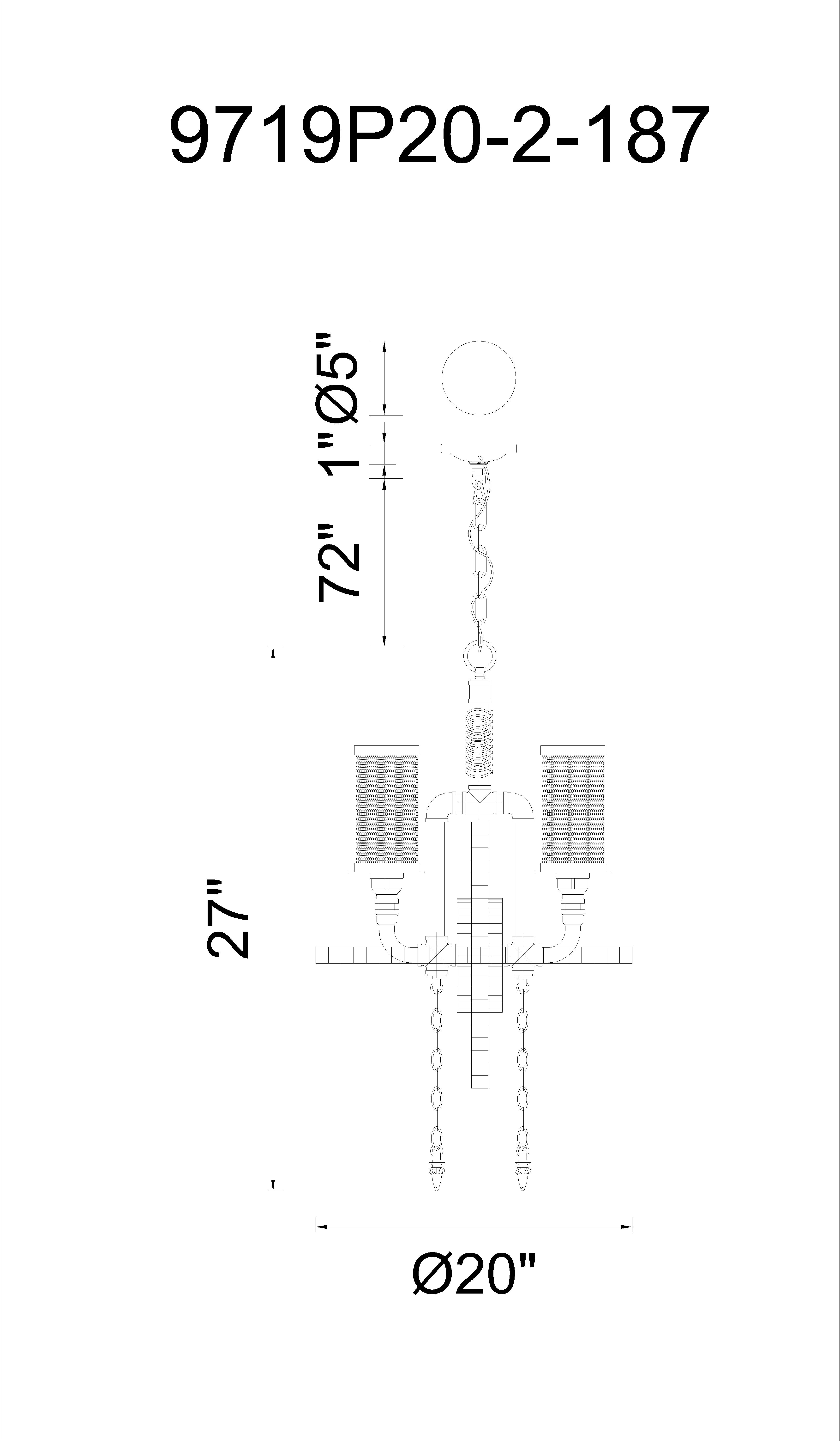 CWI Lighting Manchi 2 Light Up Chandelier With Gray Finish Model: 9719P20-2-187 Line Drawing