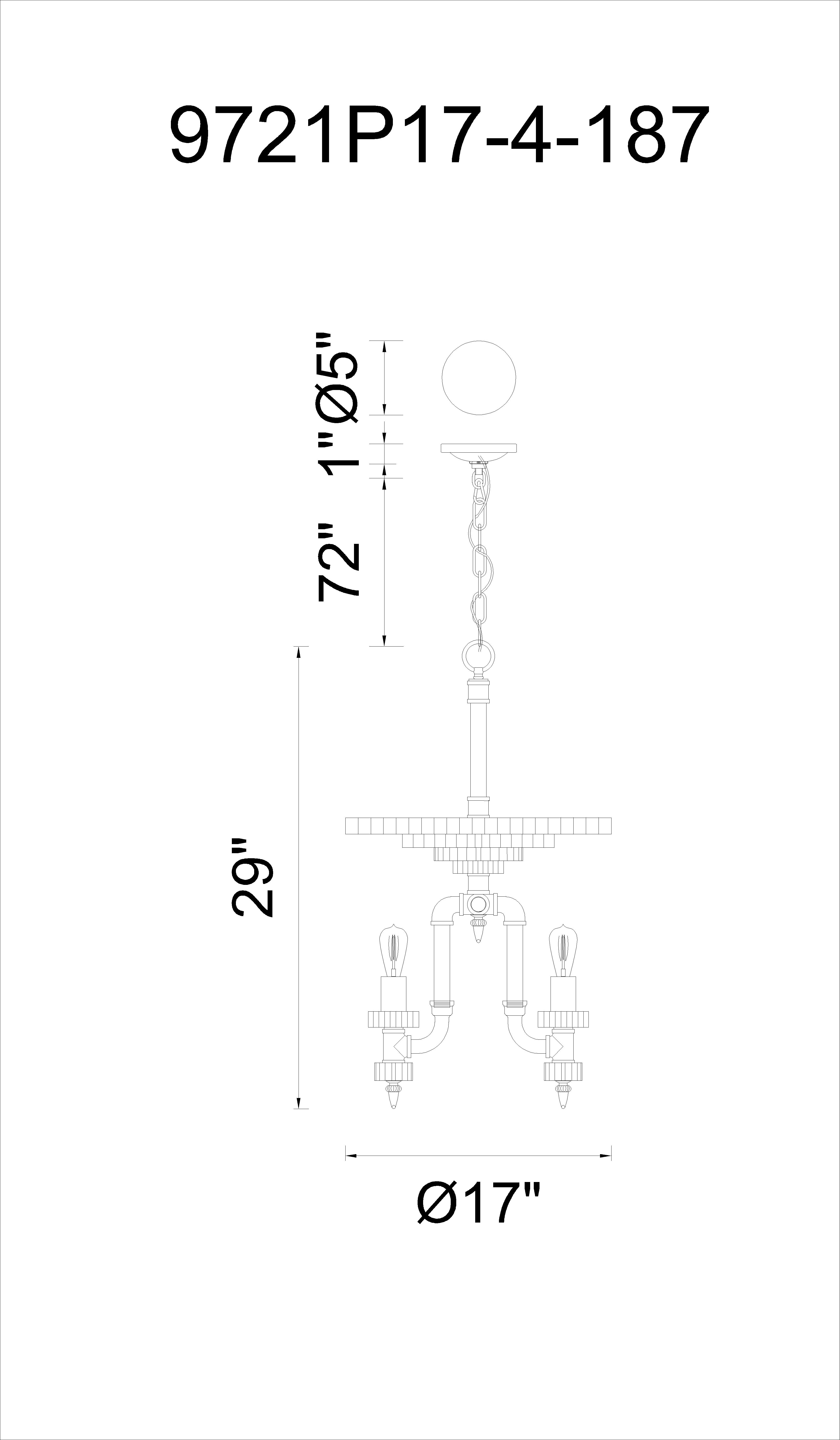 CWI Lighting Soto 4 Light Up Chandelier With Gray Finish Model: 9721P17-4-187 Line Drawing