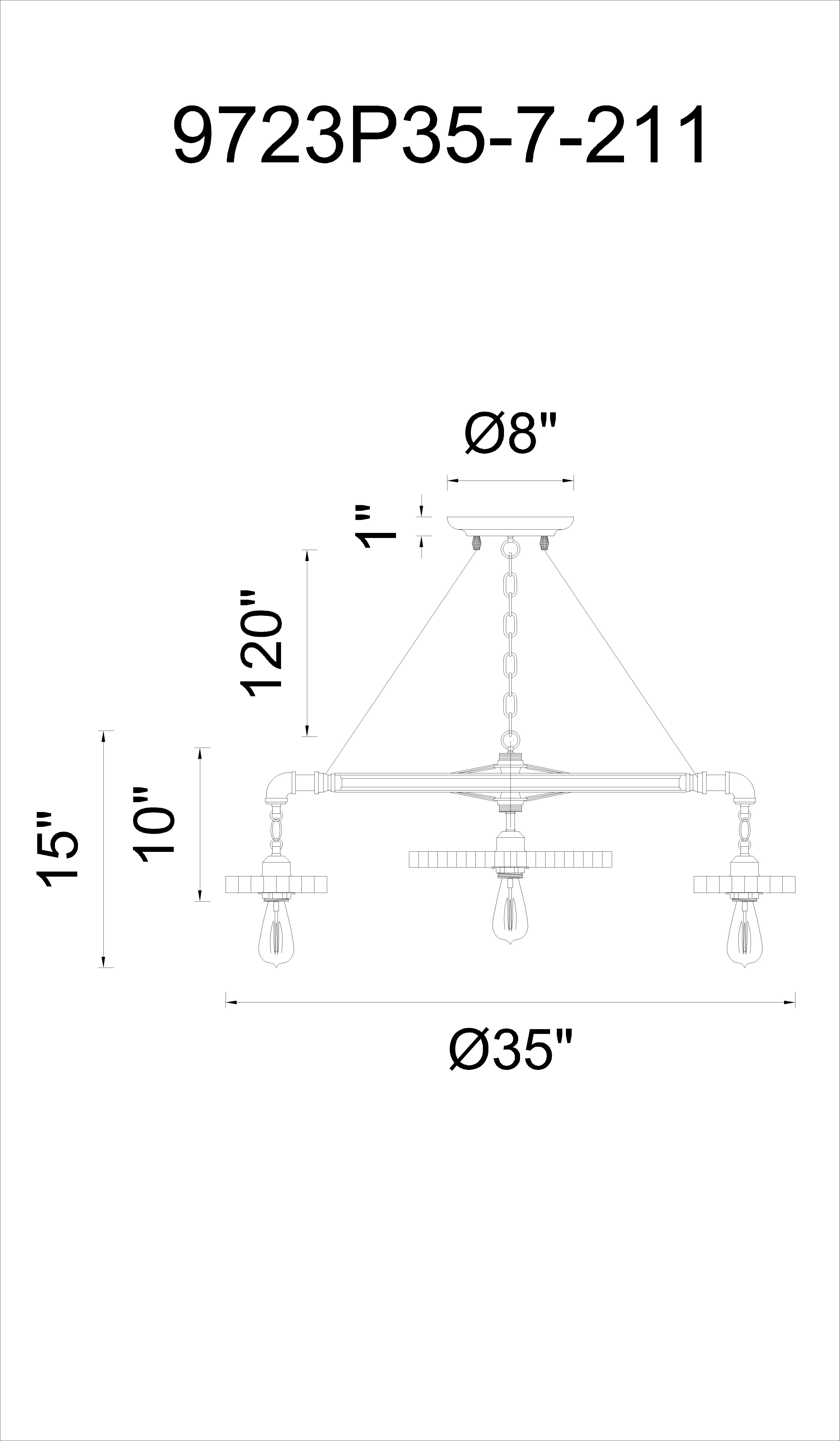 CWI Lighting Prado 7 Light Down Chandelier With Blackened Copper Model: 9723P35-7-211 Line Drawing