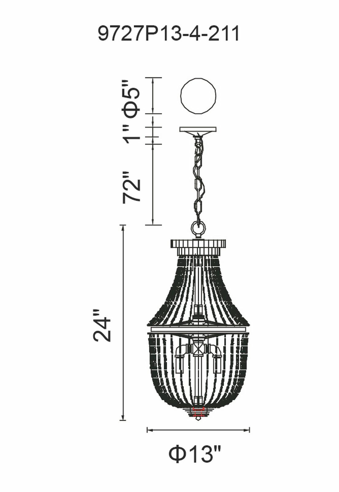 CWI Lighting Kala 4 Light Mini Chandelier With Antique Bronze Model: 9727P13-4-211 Line Drawing