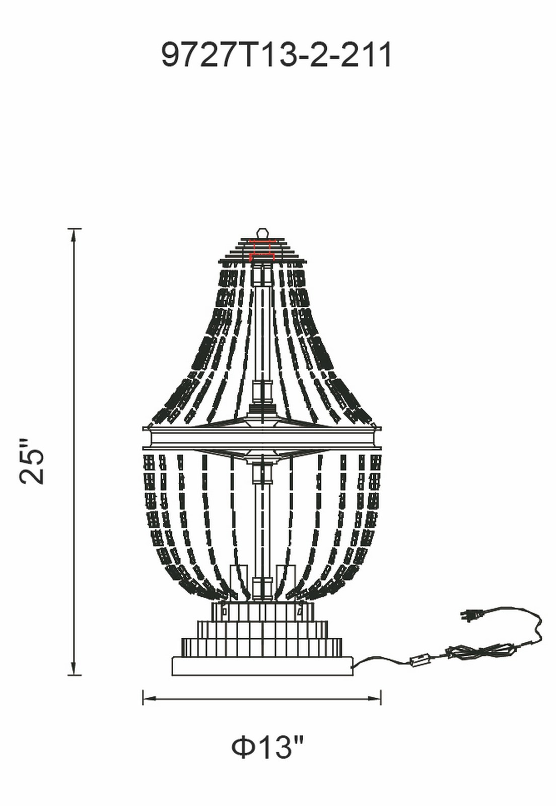 CWI Lighting Kala 2 Light Table Lamp With Antique Bronze Finish Model: 9727T13-2-211 Line Drawing