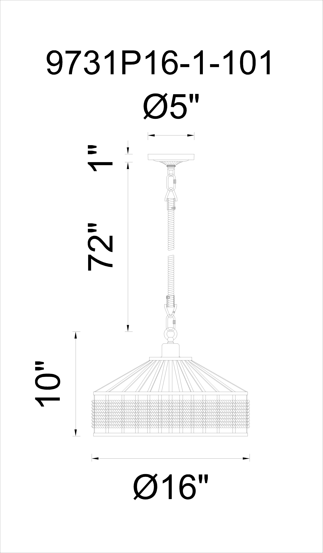 CWI Lighting Padma 1 Light Down Pendant With Black Finish Model: 9731P16-1-101 Line Drawing