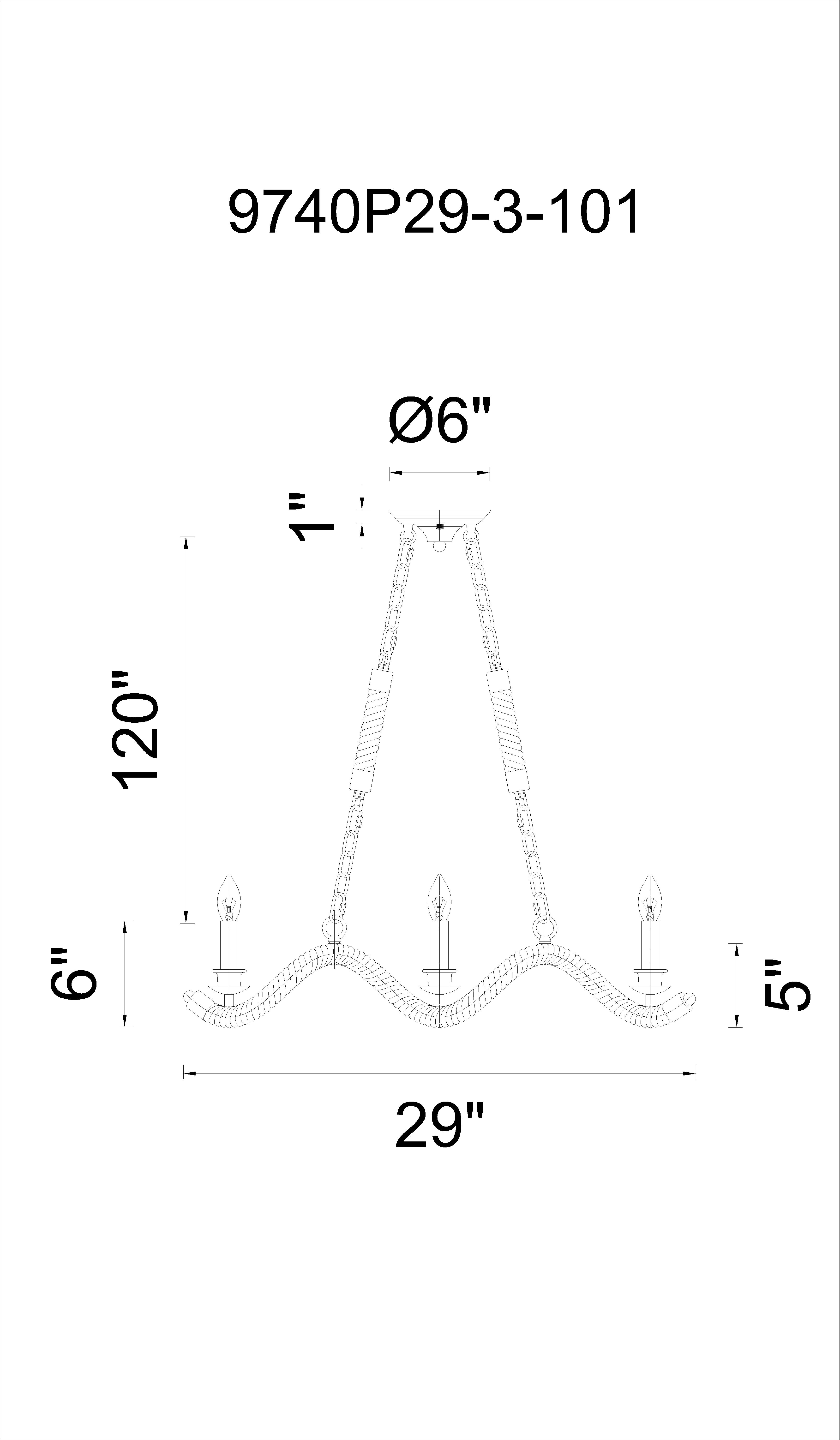 CWI Lighting Padma 3 Light Up Chandelier With Black Finish Model: 9740P29-3-101 Line Drawing