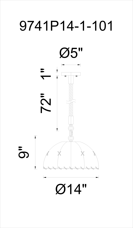 CWI Lighting Padma 1 Light Down Pendant With Black Finish Model: 9741P14-1-101 Line Drawing