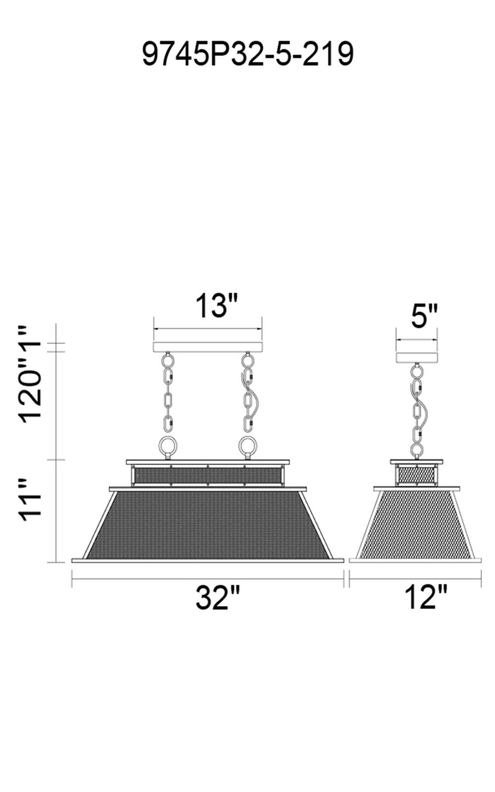 CWI Lighting Savill 5 Light Island Chandelier With Reddish Black Model: 9745P32-5-219 Line Drawing