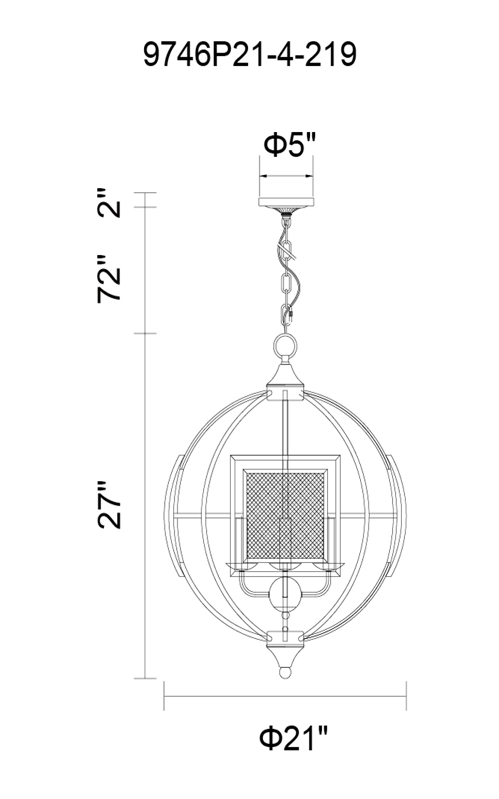 CWI Lighting Alistaire 4 Light Chandelier With Reddish Black Finish Model: 9746P21-4-219 Line Drawing