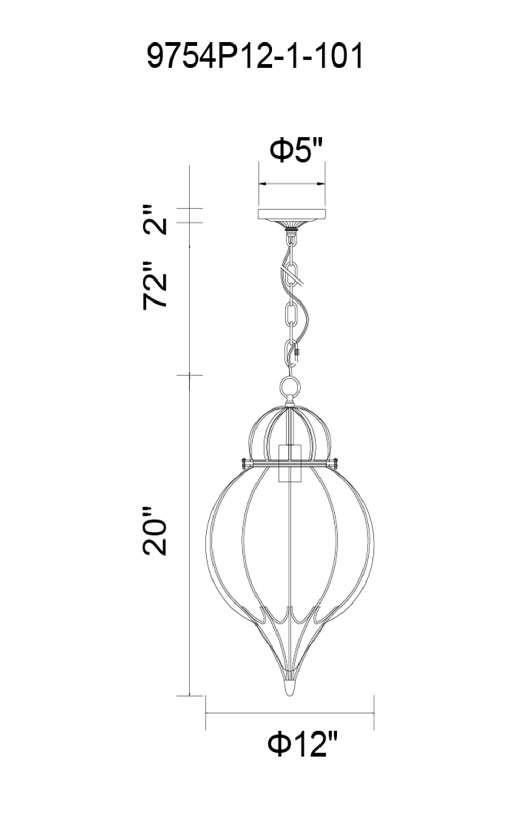 CWI Lighting Escot 1 Light Down Pendant With Black & Wood Finish Model: 9754P12-1-101 Line Drawing