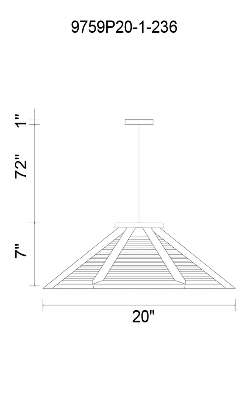 CWI Lighting Lante 1 Light Down Pendant With Black & Wood Finish Model: 9759P20-1-236 Line Drawing