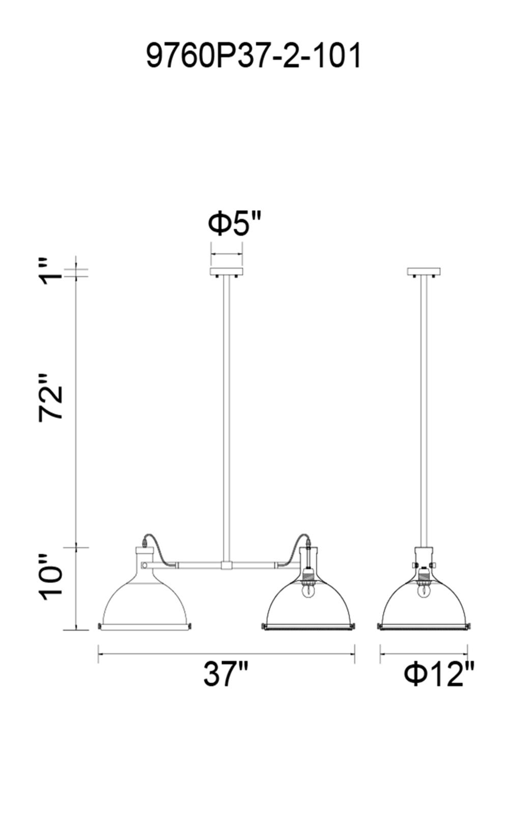 CWI Lighting Strum 2 Light Island Chandelier With Black Finish Model: 9760P37-2-101 Line Drawing