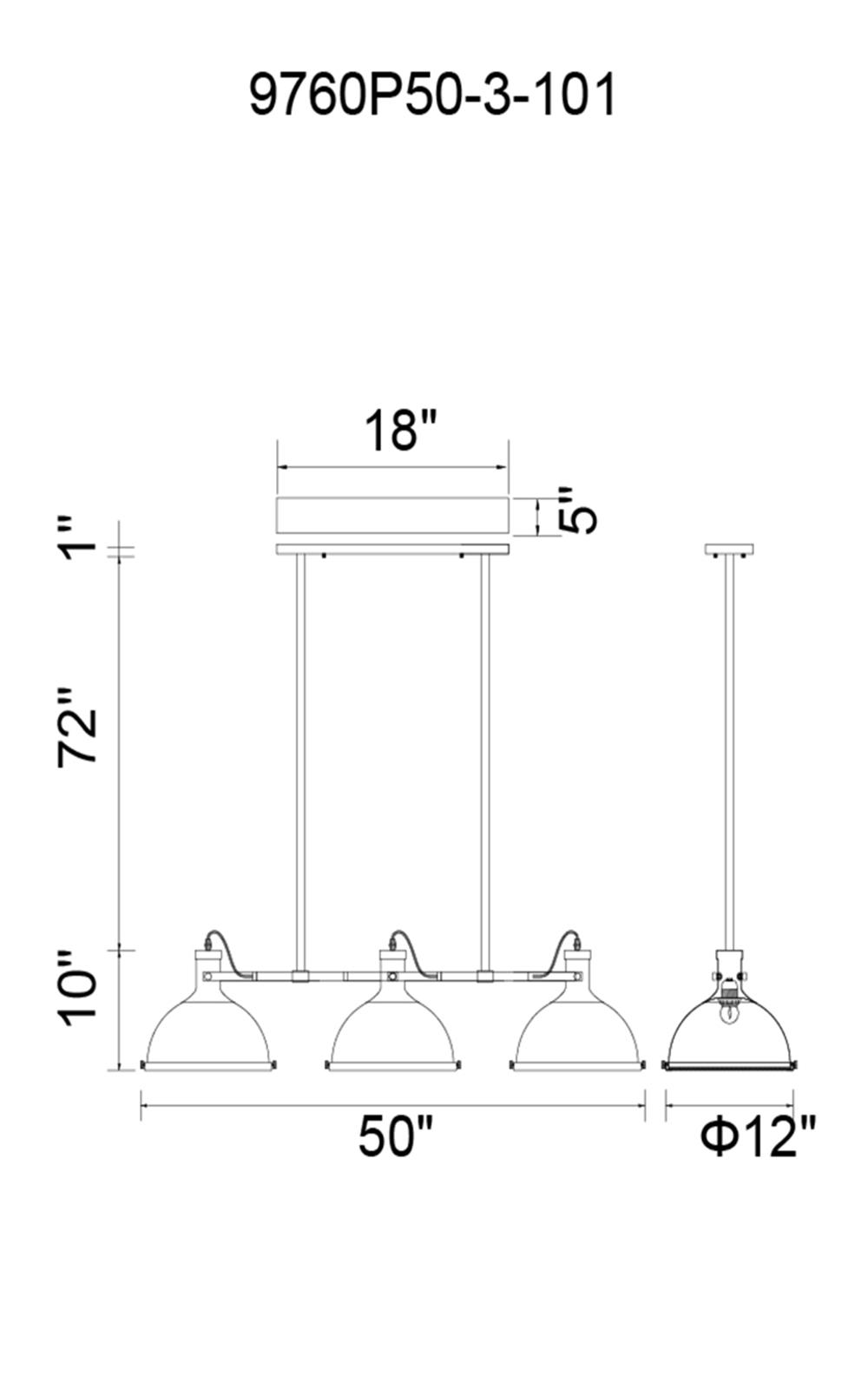 CWI Lighting Strum 3 Light Island Chandelier With Black Finish Model: 9760P50-3-101 Line Drawing