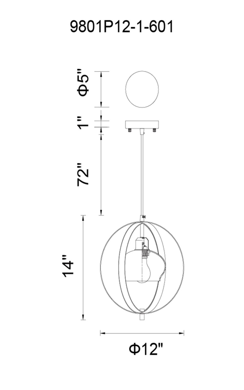 CWI Lighting Dahlia 1 Light Down Mini Pendant With Antique Bronze Model: 9801P12-1-604 Line Drawing