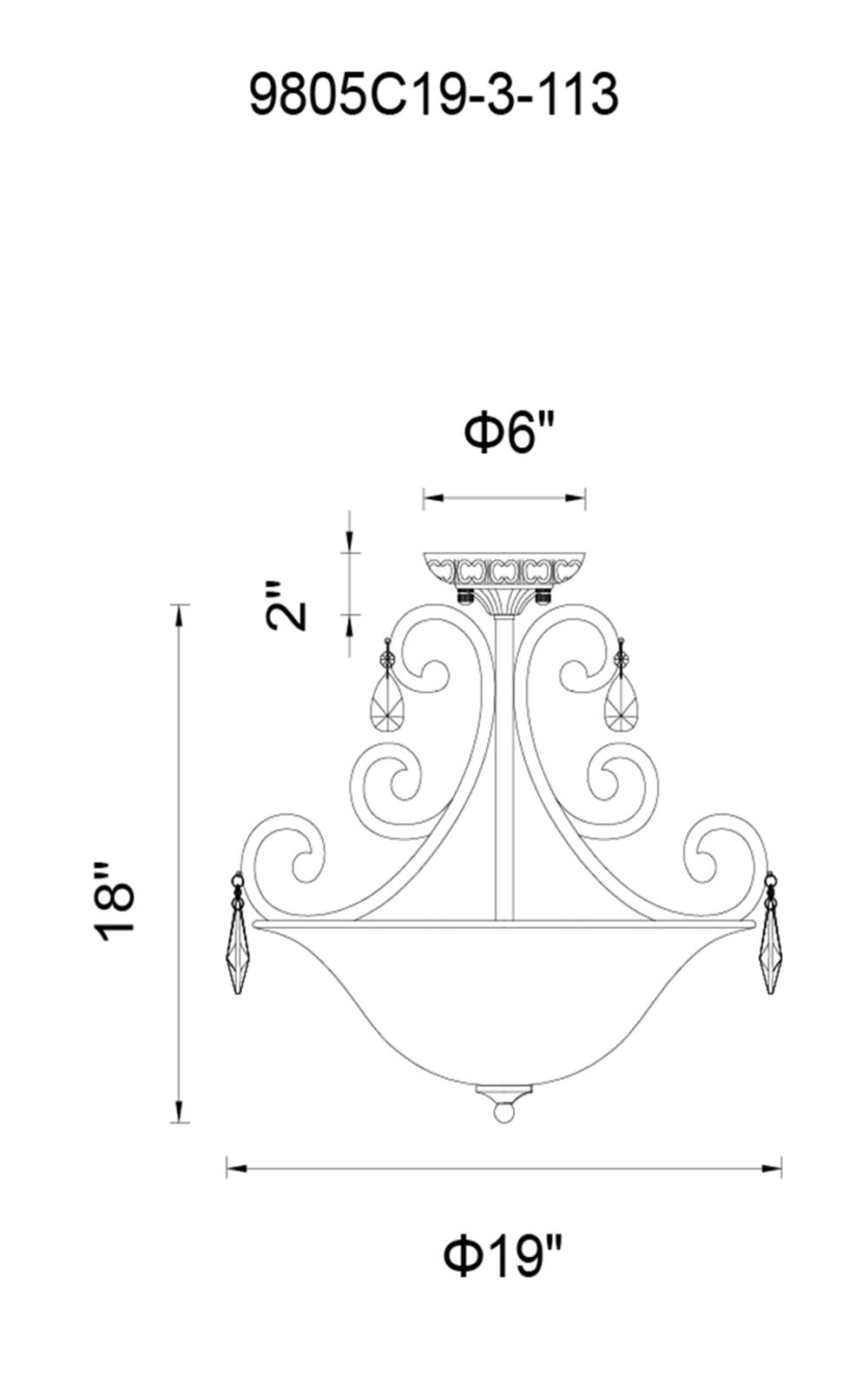 CWI Lighting Shakira 3 Light Bowl Flush Mount With Dark Bronze Model: 9805C19-3-113 Line Drawing