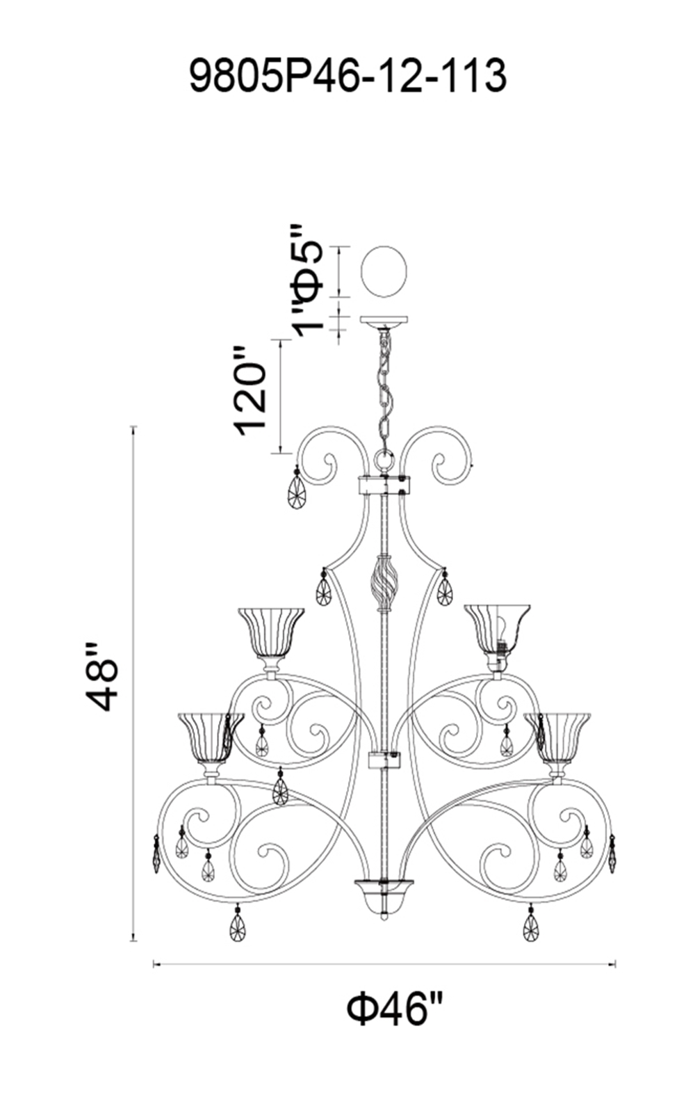 CWI Lighting Shakira 12 Light Candle Chandelier With Dark Bronze Model: 9805P46-12-113 Line Drawing