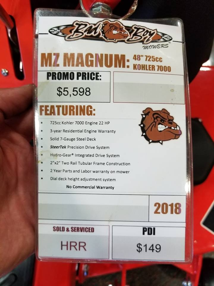 New 2018 Bad Boy MZ MAGNUM 48