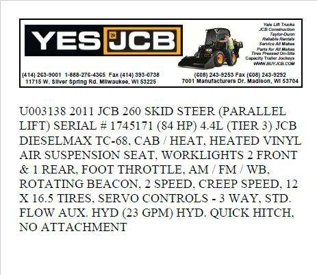 Used 2011 JCB 260 in Milwaukee, WI