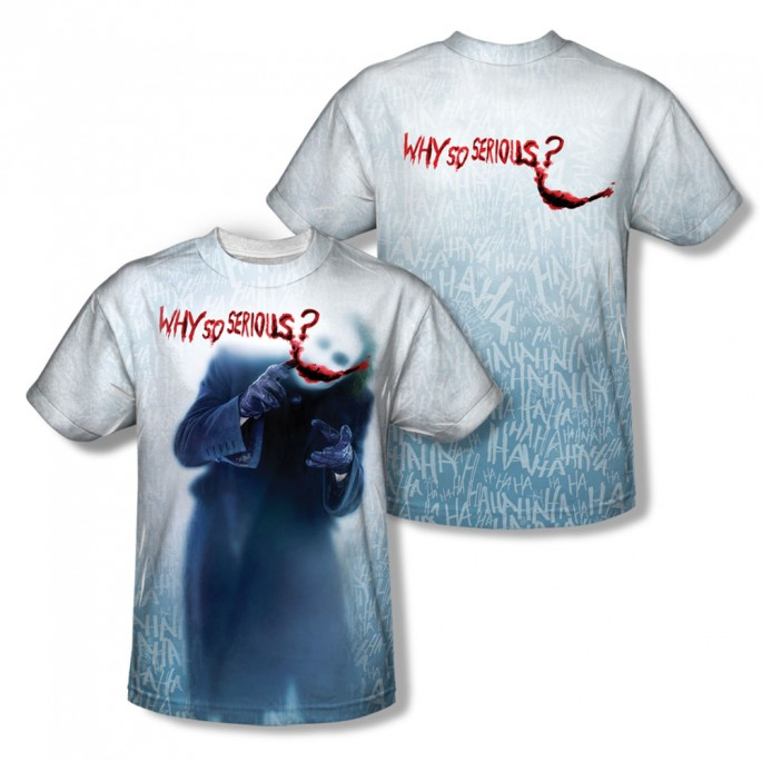 Batman Dark Knight Joker Why So Serious Double Sided Sublimation Adult T-shirt