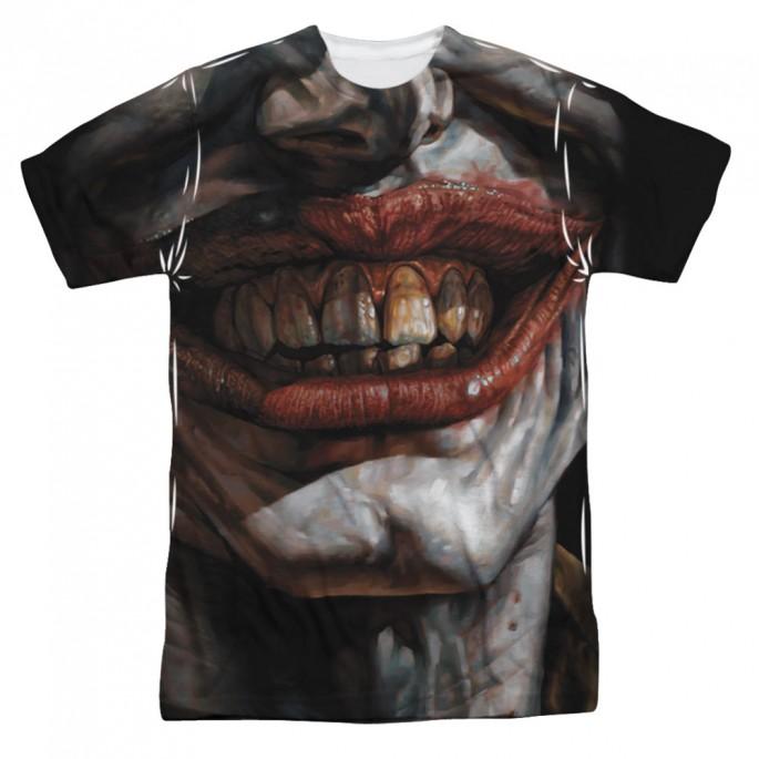 Batman Asylum Joker Mouth Single Sided Sublimation Adult T-shirt