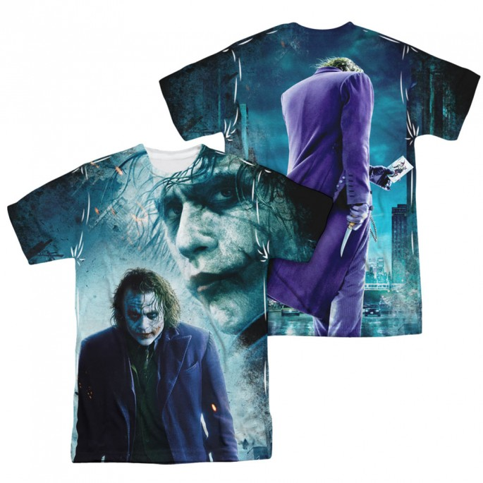 Batman Dark Knight Joker Gotham's Chaos Double Sided Sublimation Adult T-shirt