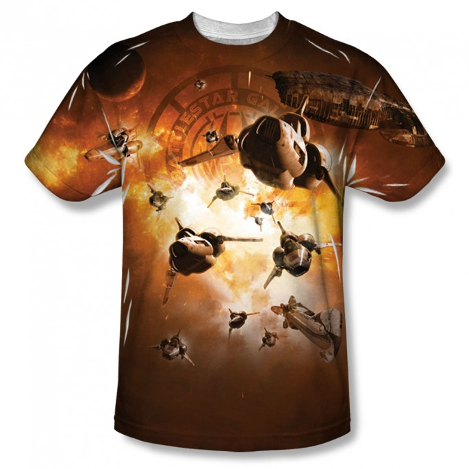 Battlestar Galactica Dogfight One Side Adult T-Shirt