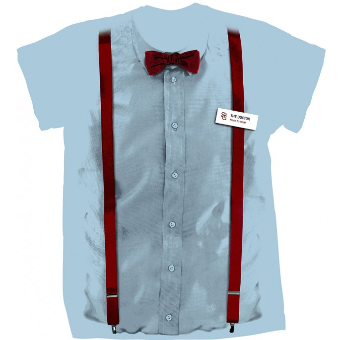 Doctor Who 11th Doctor Costume Suspenders and Bow Tie Adult T-Shirt
