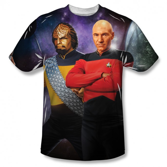 Star Trek Picard and Worf One Side Sublimation Adult T-shirt