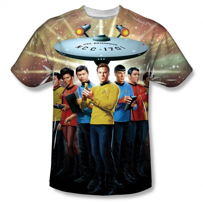 Star Trek Crew w/ Enterprise One Side Print Adult T-shirt
