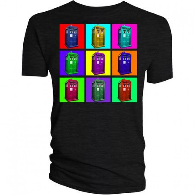 Doctor Who Psychadelic Squares Adult T-Shirt