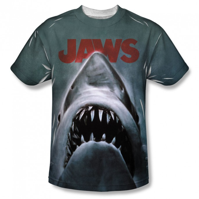 Jaws Movie Sublimation One Side Polyester Adult T-shirt