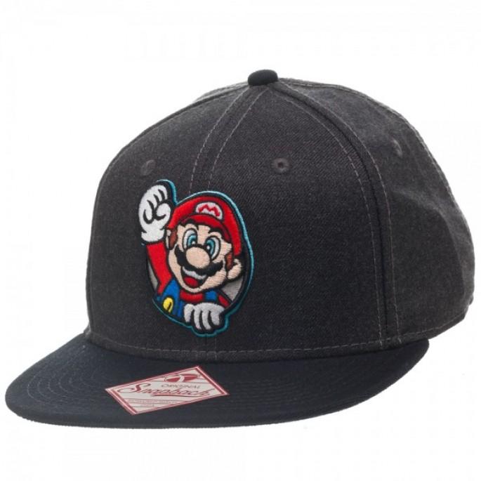 Nintendo Mario Gray Snapback Baseball Cap