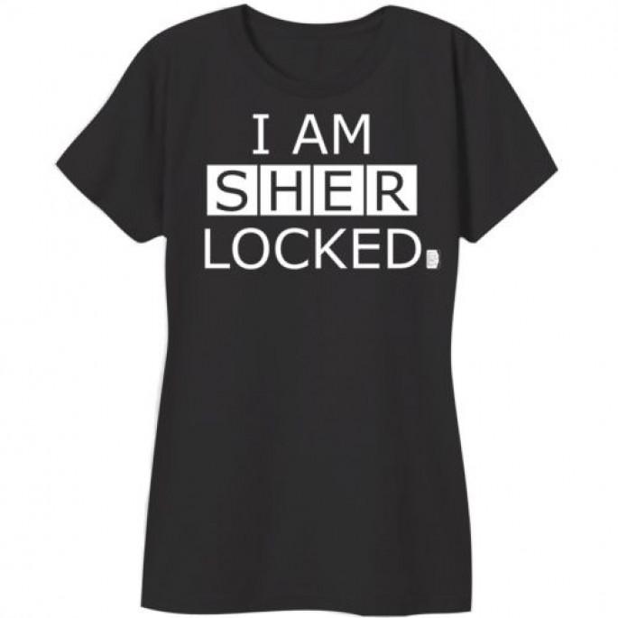 Sherlock I Am Sherlocked Black Cotton Women's Juniors T-Shirt