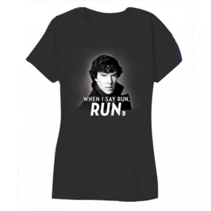 Sherlock When I Say Run - Run Charcoal Women's Juniors T-Shirt