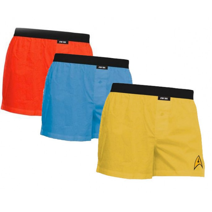 Set of 3 Star Trek Uniform Boxers, Captain Kirk, Scotty, & Spock XL