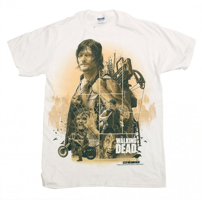 The Walking Dead Daryl Dixon Montage Pose White Adult T-Shirt