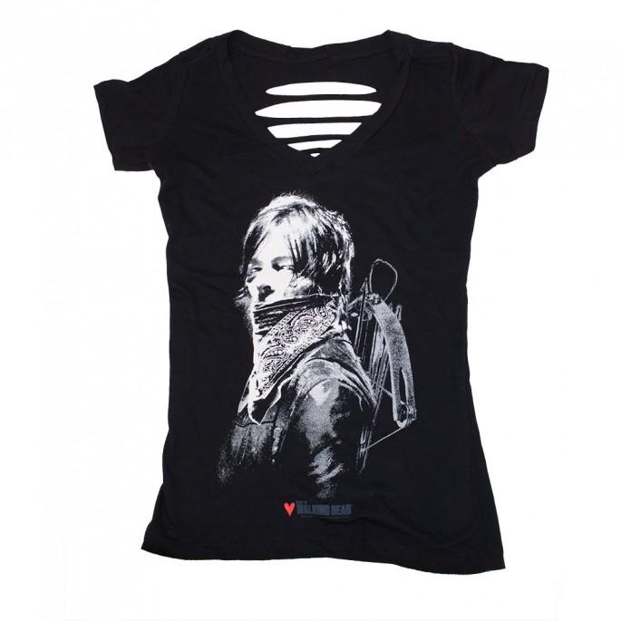 The Walking Dead Daryl With Bandana Braided Women's Juniors T-Shirt