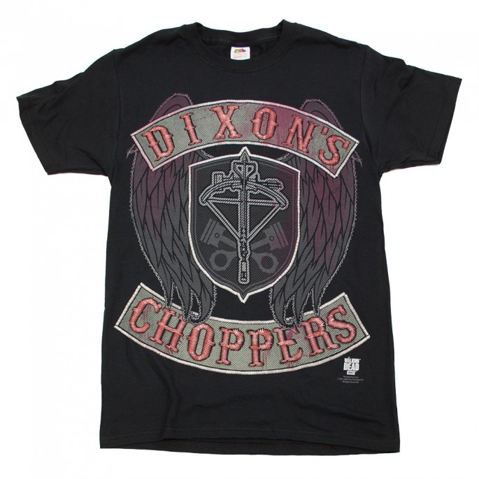 The Walking Dead Dixon's Choppers Faux Stitch Black Adult T-Shirt