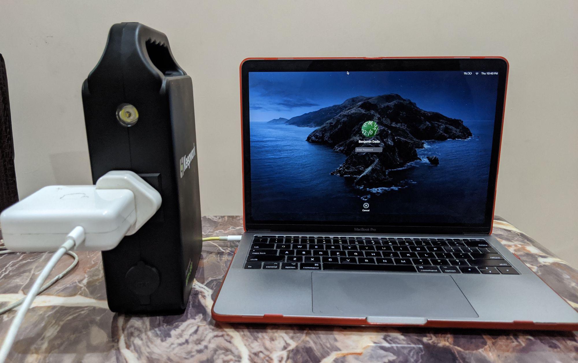 Macbook plugged into Keepwork device