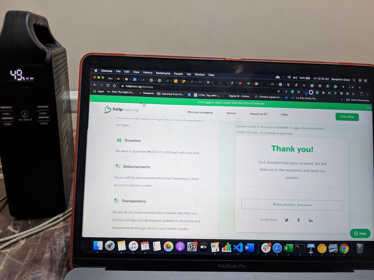Keepwork charging Benjamin Dada's laptop