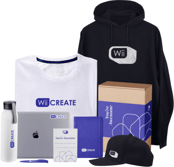 WiiCreate Merch Box promotional branded merch
