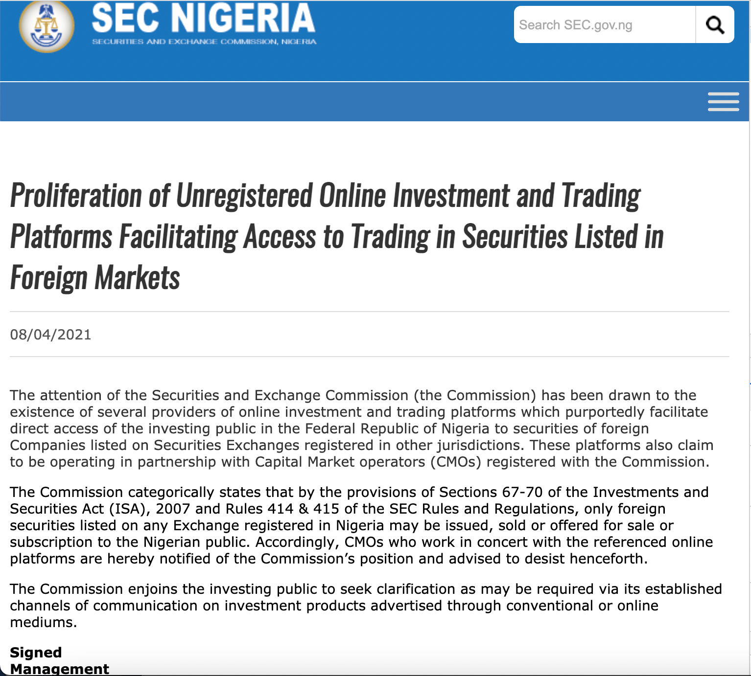 Nigeria's SEC circular to investment platforms on April 8, 2021