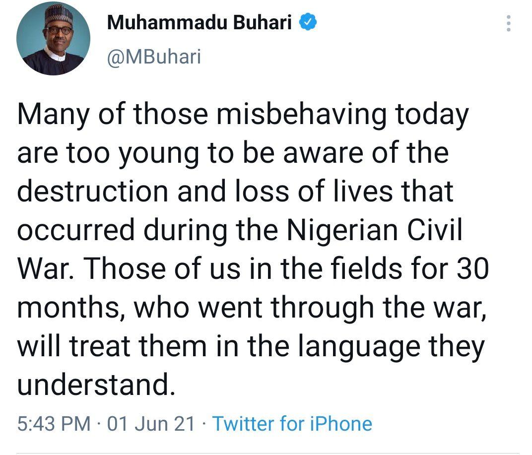 President Buhari's controversial tweet