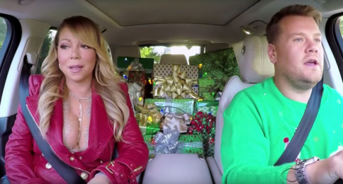mariah carey shows off ample cleavage while filming carpool karaoke with james - Christmas Boobies