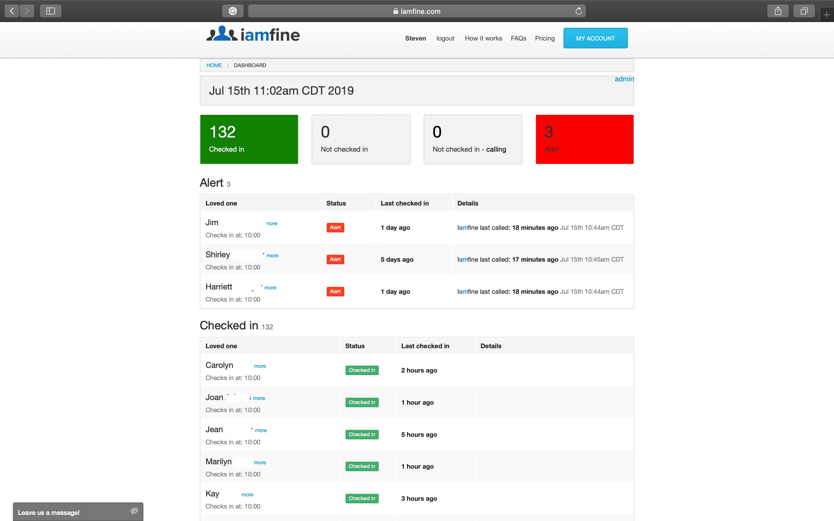 Dashboard for multiple users of Iamfine.com